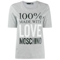 Love Moschino Camiseta Decote Careca Com Estampa De Logo - Cinza