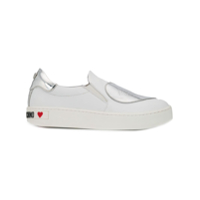 Love Moschino Heart Patch Slip-On Sneakers - Branco