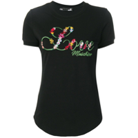 Love Moschino Camiseta Com Logo Bordado - Preto