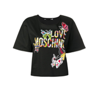 Love Moschino Blusa Cropped Estampada - Preto