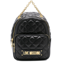 Love Moschino Quilted Logo Backpack - Preto