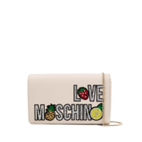 Love Moschino Clutch Com Paetês - Neutro