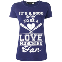 Love Moschino Slogan Print T-Shirt - Azul