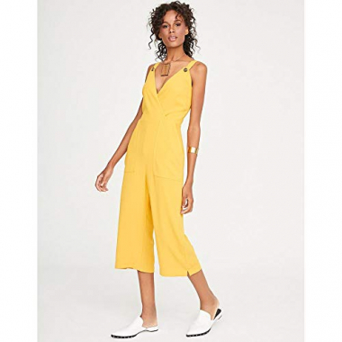 Macacao Cropped Crepe-Amarelo-38