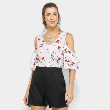 Macaquinho Lily Fashion Open Shoulder Feminino-Feminino