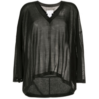 Maison Margiela 3/4 Sleeve Knitted Top - Preto