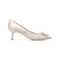 Manolo Blahnik Hangisi 50 Jewel Buckled Pumps - Cinza