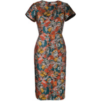Mary Katrantzou Vestido Slim Brocado 'seashell' - Laranja