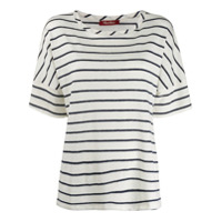 Max Mara Striped Boxy T-Shirt - Branco