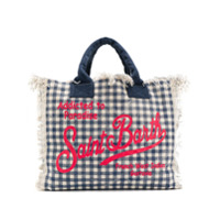 Mc2 Saint Barth Check Logo Print Tote Bag - Azul