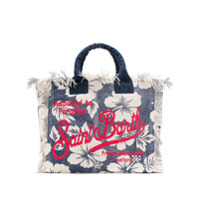 Mc2 Saint Barth Floral Logo Print Tote Bag - Azul