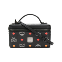 Mcm Logo Print Box Shoulder Bag - Preto