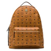 Mcm Stark Logo Print Backpack - Marrom