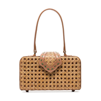 Mehry Mu Brown Fey In The 50's Rattan Leather Box Bag - Marrom