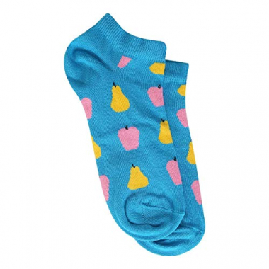 Meia Soquete Happy Socks Fruits Low Sock Feminina - Azul+Amarelo - 34-38
