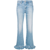 Mih Jeans Ruffle Trim Flared Leg Jeans - Azul