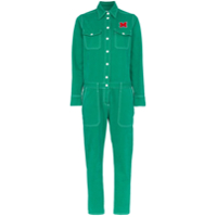Mira Mikati Floral Embroidered Cotton Boiler Suit - Verde