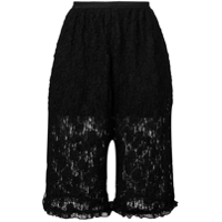 Mm6 Maison Margiela Short De Renda Floral - Preto