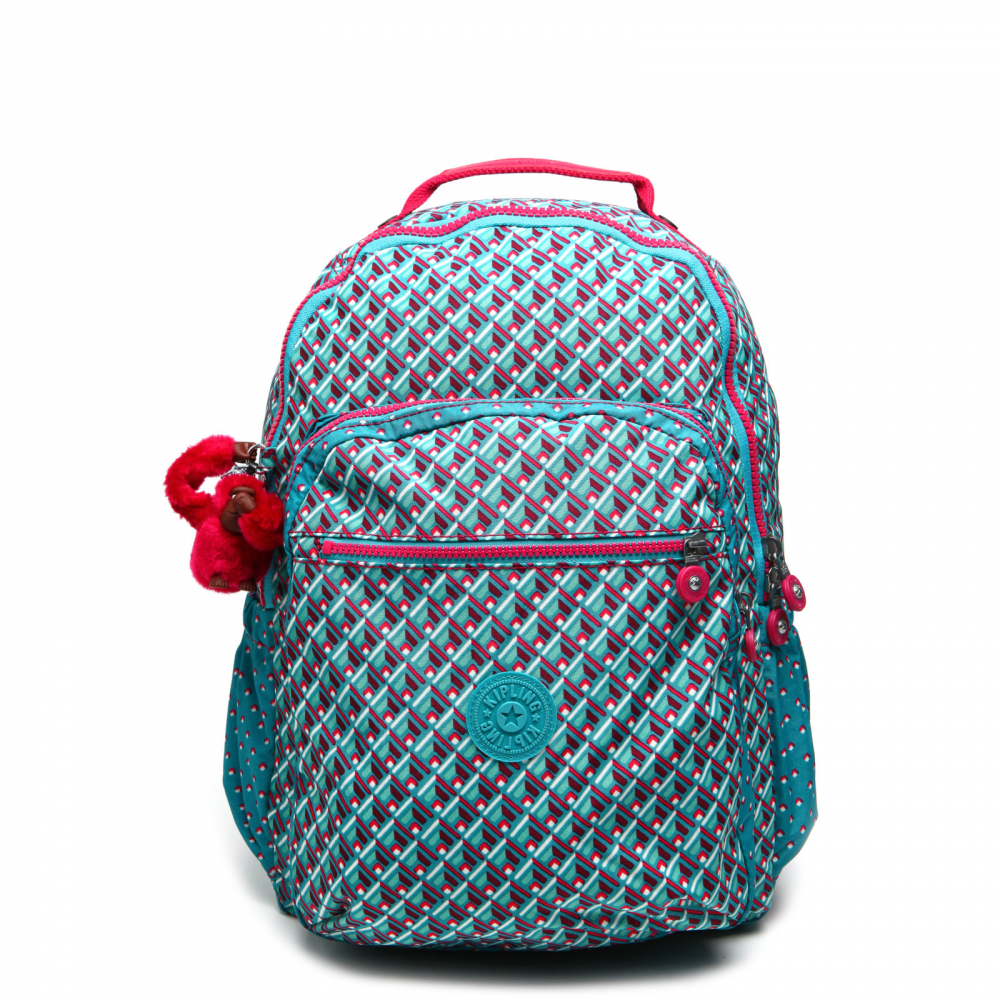 2ac34b211 Mochila Kipling Back To School Lm Seoul Up Verde/Rosa