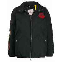 Moncler Embroidered Patch Puffer Jacket - Preto