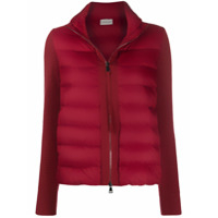 Moncler Knitted Sleeves Zip-Up Jacket - Vermelho