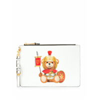 Moschino Clutch Teddy Bear Com Logo - Branco