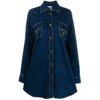 Moschino Embroidered Denim Shirt Dress - Azul