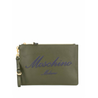 Moschino Logo Zipped Clutch - Verde