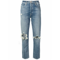 Mother Cropped Distressed Jeans - Azul