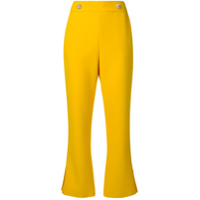 Msgm Cropped Bootleg Trousers - Amarelo