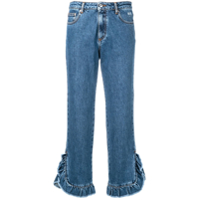 Msgm Cropped Leg Jeans - Azul