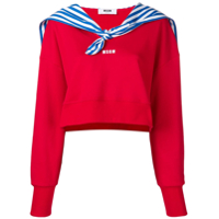 Msgm Cropped Sweatshirt With Sailor's Detail - Vermelho