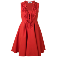 Msgm Fringed V-Neck Flared Dress - Vermelho