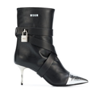 Msgm High Heel Ankle Boots - Preto