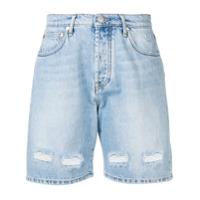 Msgm Logo Denim Shorts - Azul