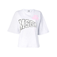 MSGM Camiseta Palm Tree com logo - Cinza