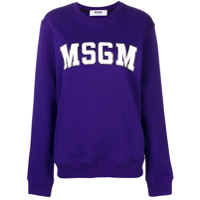 Msgm Logo Patch Sweatshirt - Roxo