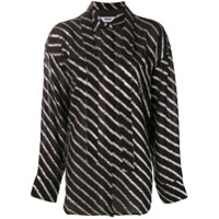 Msgm Metallic Striped Shirt - Preto