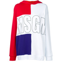 Msgm Moletom Color Block Com Estampa De Logo - Branco