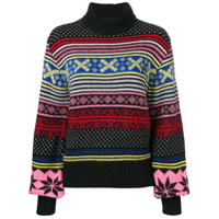 Msgm Patterned Knit Roll-Neck Sweater - Preto