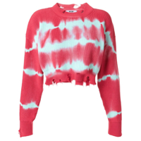 Msgm Suéter Cropped Tie-Dye - Rosa