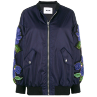 Msgm Terry-Flocked Satin Bomber Jacket - Azul