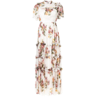 Needle & Thread Vestido Com Estampa Floral - Branco