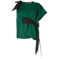 Nº21 Bow Detail Asymmetric Blouse - Verde