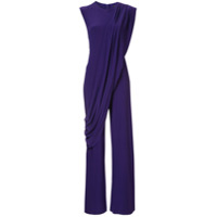 Norma Kamali Sleeveless Draped Jumpsuit - Roxo
