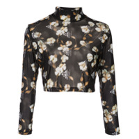 Off-White Blusa Cropped Floral - Preto
