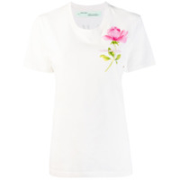 Off-White Camiseta Com Estampa De Rosa - Branco