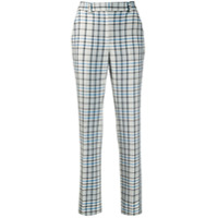 Off-White Checked High-Waist Trousers - Branco