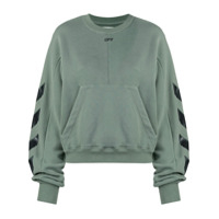 Off-White Moletom Com Estampa Diagonal - Verde