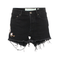 Off-White Short Jeans Destroyed - Preto